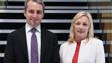 CBA chief executive Matt Comyn and Australia Post CEO Christine Holgate after announcing the bank will pay AusPost an increased fee.