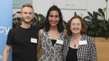 CityMiner founder Andrew Asfaganov, University of Sydney masters graduate Mariam Mohammad and Walshe Group head Jacqui Walshe.