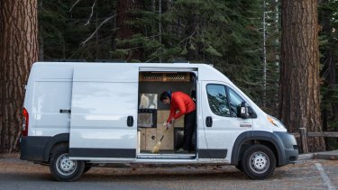 Simple life: Honnold lives out of a van.