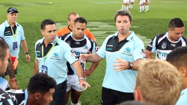 Full support: Shane Flanagan (left) and Steve Price coaching the Sharks back in 2015.