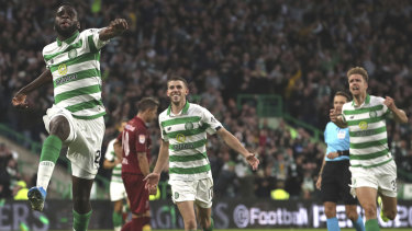Odsonne Edouard celebrates scoring Celtic's second goal, but it was ultimately to no avail.