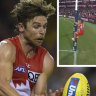 Dane Rampe's goal-post climb shrouds Swans win in controversy