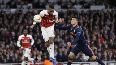 Arsenal's Alexandre Lacazette during the Europa League semi-final this year.