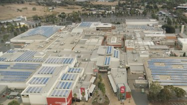 Solar panels line the roof of Vicinity's Elizabeth City Centre mall in South Australia.