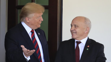 US President Donald Trump welcomes Switzerland's Federal President Ueli Maurer to the White House in Washington.