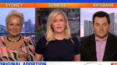 Sunrise host Samantha Armytage (centre) and Prue MacSween are facing a lawsuit over a segment on Indigenous adoption.