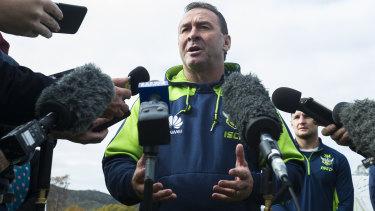 Ricky Stuart at a press conference.