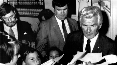 Bob Hawke, right, and Barry Jones, left, at the Questacon science centre in Canberra in 1987.