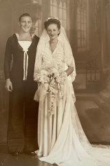 Ray Leonard with bride Beryl on their wedding day.