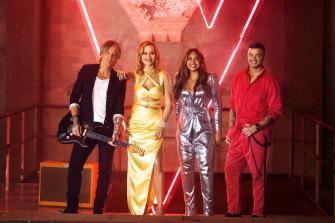 Guy Sebastian on The Voice with fellow coaches Keith Urban, Rita Ora and Jessica Mauboy.
