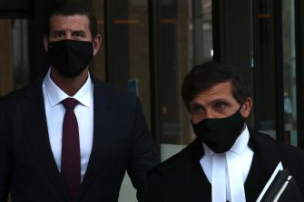 Ben Roberts-Smith and his barrister Arthur Moses, SC, leaving the Federal Court on Monday.