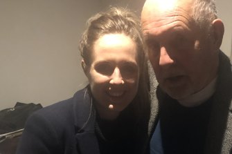 Anna Coffey and her father John, who is in a palliative care unit at a Melbourne hospital.