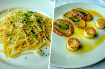 The pasta with prawns and veal saltimbocca at Di Stasio Citta.