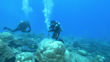 Coral core extraction off Christmas Island.