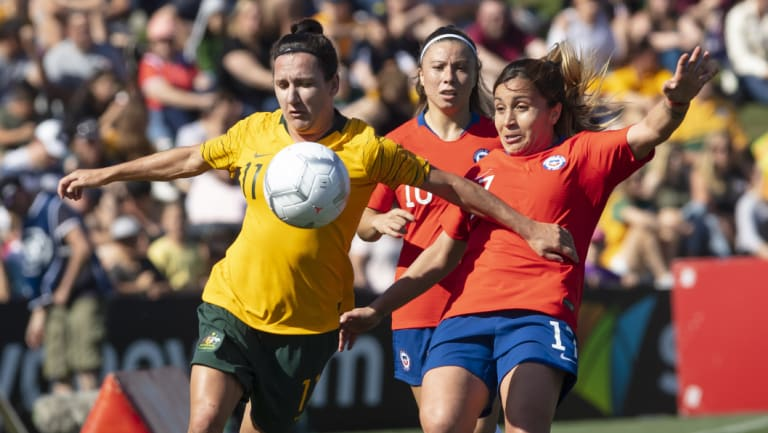 Toast of the town: The Matildas underlined their popularity by attracting huge crowds – in Penrith and Newcastle – to the recent series against Chile.