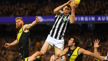 Mason Cox in his breakout performance in last year's preliminary final against Richmond.