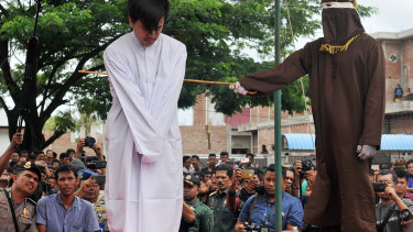 The penalty for homosexual acts in Aceh is up to 100 lashes and 10 months in jail.