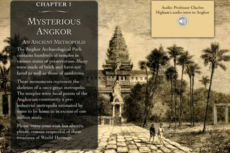 Screenshot from new app providing a virtual tour guide for Angkor Wat in Cambodia