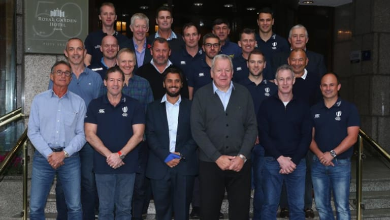 Referees and coaches at a World Rugby meeting on November 8 2017.