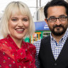 ABC Melbourne presenters Jacinta Parsons and Sami Shah.