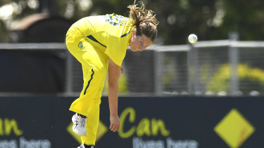 Darcie Brown fires one down against India.