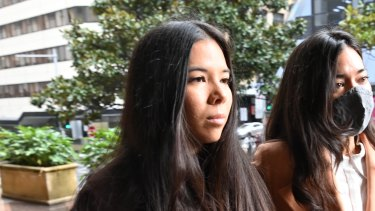Nicola Teo (left) arrives at Downing Centre courts on Tuesday morning.