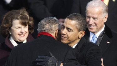 Barack Obama embraces civil rights icon the Reverend Joseph E. Lowery during his inauguration as the 44th president of the US.