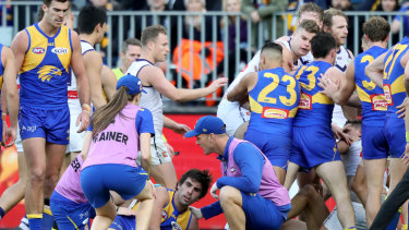 Gaff's strike and return to the field prompted retaliation from Brayshaw's riled teammates in the last western derby.