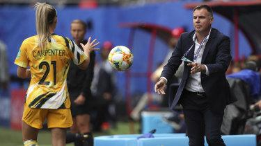 Matildas coach Ante Milicic and Ellie Carpenter.