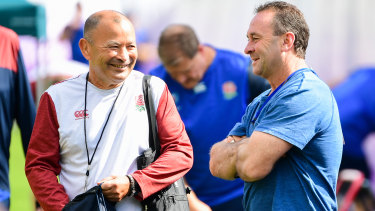 England coach Eddie Jones with Canberra NRL coach Ricky Stuart in England camp in Beppu.