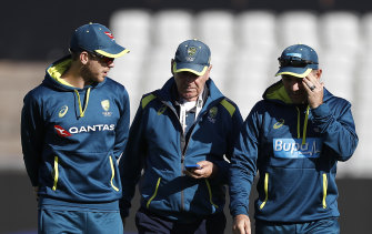 Hohns, pictured (centre) with Test captain Tim Paine and coach Justin Langer, believes a group of selectors is needed to watch players the coach can't.