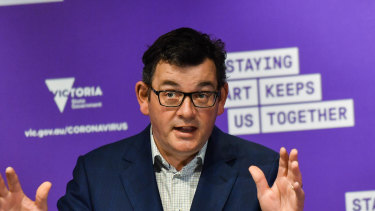 """Premier Daniel Andrews says Victoria was """"swamped'' by the first wave of the pandemic when it was first approached by SalesForce."""