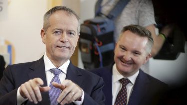 Bill Shorten and then opposition treasury spokesman Chris Bowen. Labor's tax plans were seen as too bold and have been blamed for the party not winning government.