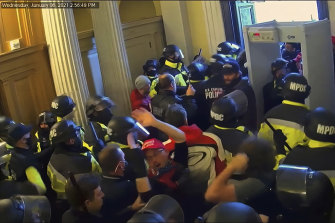 Security video of the January 6 riot shown to senators during Donald Trump's second impeachment trial.