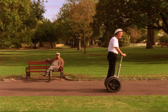 Michael Mote on his Segway in Melbourne in 2003.