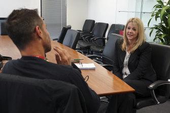 Richard Baker with Australian Federal Police Detective Sergeant Celeste Johnson.