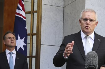 Prime Minister Scott Morrison with Health Minister Greg Hunt.
