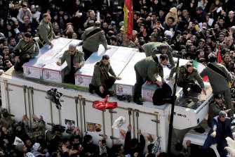 The coffins of Qassem Soleimani and others killed by the US drone strike during a funeral procession at the Enqelab-e-Eslami (Islamic Revolution) square in Tehran.