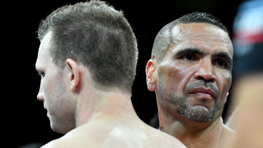Mismatch: Anthony Mundine was hammered by Jeff Horn in just over one minute.
