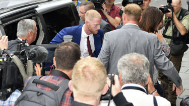 Return: Ben Stokes arrives at Bristol Crown Court, where he was cleared of affray charges.