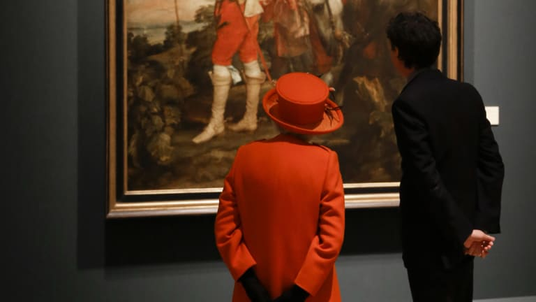 Royal Academy curator Per Rumberg, pictured here with Queen Elizabeth, said the academy has long desired to have an equal blend of men and women.