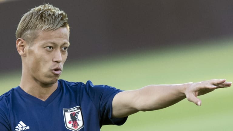 Spot on: Keisuke Honda got on the scoresheet for Melbourne Victory with a practice-match penalty against Wellington Phoenix.