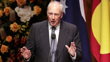 Former Prime Minister Paul Keating speaks.