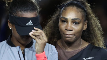 Serena Williams hugs winner Naomi Osaka after a controversial US Open final.