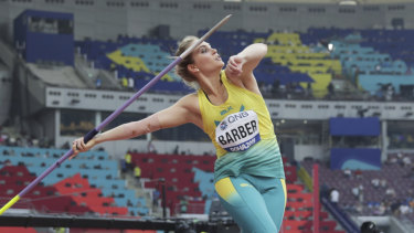 Kelsey-Lee Barber is in medal contention in the women's javelin.