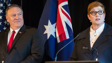 Mike Pompeo, US Secretary of State and Australia's Minister for Foreign Affairs at a joint press conference at state Parliament.