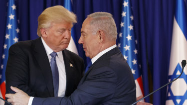 Israeli Prime Minister Benjamin Netanyahu (right) had pressed Donald Trump (left) to formally recognise Israeli control of the Golan Heights.