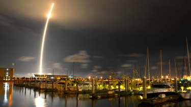 A 71-second exposure as seen from Port Canaveral,  SpaceX's Falcon 9 rocket successfully lifted off from Cape Canaveral Air Force Station.