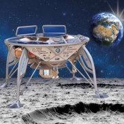 An artist's impression of SpaceIL's lunar lander, Beresheet, landing on the moon