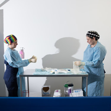 Nurses Tracey Hurley, left, and Kate Walsh in one of the treatment rooms on the ward.